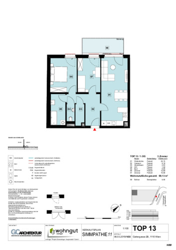 1_Verkaufsplan der Wohnung TOP 13_NBB